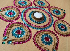 8 Pieces Beautiful Pink and Blue Rangoli for Diwali by Kalakruti