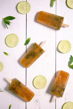 iced tea popsicles with mint.