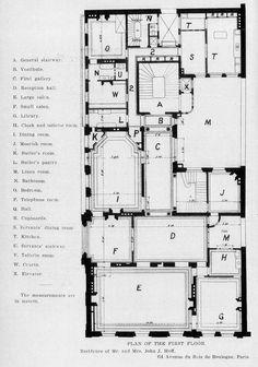 "archimaps: ""Floor plan of the Hoff Apartment, Paris "" Rustic Apartment, Parisian Apartment, Paris Apartments, Apartment Design, Mansion Plans, House Plans, Building Plans, Building A House, Paris Flat"