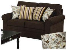Coaster Rosalie Stationary Loveseat with Accent Pillows in Dark Brown transitional-love-seats