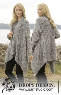 """First in Line - Knitted DROPS jacket in garter st with lace pattern in """"Alpaca"""" and """"Kid-Silk"""". Size: S - XXXL. - Free pattern by DROPS Design"""