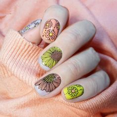 Sunshine Daisy floral #nailstamping, really beautiful, how do you think of it? More shared in bornprettystore.com. #bornpretty