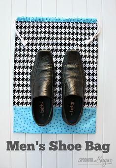 Sew an Easy Men's Drawstring Shoe Bag + Sewing Ergonomics