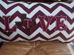 Texas A&M Love Appliqued Pillow Cover would be a great gift to your Aggie couple on their wedding day!  Follow thehowdyweddingguide on Instagran for more Aggie wedding shares!