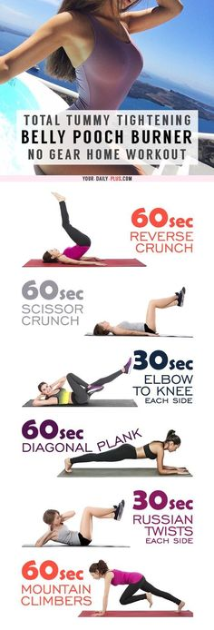 💪 Total Tummy Tightener – Stubborn Pooch Fat Melter That Really Works! This killer tummy-cinching routine works magic on muffin tops and that soft belly pooch and will leave your tummy tight and toned in two weeks! Fitness Workouts, Lower Ab Workouts, Sport Fitness, Easy Workouts, Fitness Tips, Dance Fitness, Enjoy Fitness, Stomach Workouts, Health Fitness