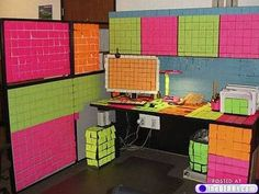 Sticky note prank... My sophomore year roommate & her bf at the time did this to my room when I went out of town one weekend haha