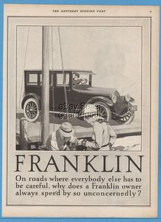 1924 Franklin Automobile Co Syracuse NY Adolph Treidler Sailing Sailboat Art Ad