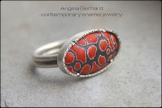 Custom vitreous enamel ring. Sgraffito technique. Matte surface. Learn how to do this technique in my Craftcast class! https://www.craftcast.com/recordings/learn-make-enamelled-bracelet-angela-gerhard