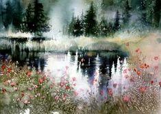 Watercolor landscape forest