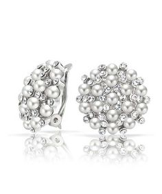 Bling Jewelry Crystal White Simulated Pearl Clip On Earring Rhodium Plated