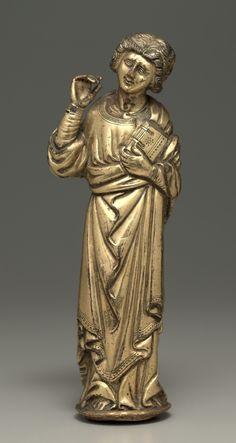 Mourning Saint John the Evangelist, early 1400s Austria, Upper Rhine, 15th century gilt copper, Overall: h. 14.60 cm