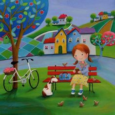 View Iwona Lifsches's Artwork on Saatchi Art. Find art for sale at great prices from artists including Paintings, Photography, Sculpture, and Prints by Top Emerging Artists like Iwona Lifsches. Child Draw, Spongebob Painting, Country Art, Am Meer, Naive Art, Original Art For Sale, Whimsical Art, Beautiful Paintings, Cartoon Drawings