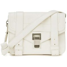 Womens Cross-body Bags Proenza Schouler PS1 Mini White Leather Satchel ($920) ❤ liked on Polyvore featuring bags, handbags, white crossbody handbags, white leather purse, white satchel handbags, white purse and white handbags