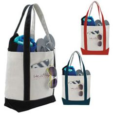 "This great value tote with front pocket is ideal for a day on the boat or on the beach. The large roomy main compartment with snap closure allows you plenty of room for all you need. The double stitched shoulder length 24"" handles ensure you a strong, comfortable means of carrying. Double stitched 24"" handles. Material: 12 oz cotton duck."