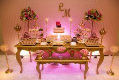 Sweet tables for elegant 15 years 2nd Birthday Parties, Birthday Party Decorations, Girl Birthday, Wedding Decorations, Sweet Fifteen, Sweet 15, Bridal Shower, Baby Shower, Quinceanera Party