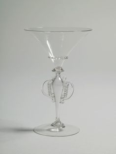 Winged Stem Goblet. Clear glass (cristallo).  Late 16th century.