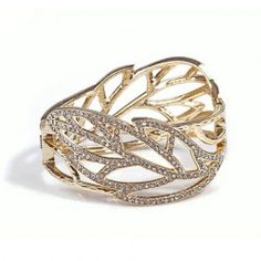 $5.84 Delicate Rhinestoned Openwork Leaf Shape Women's Alloy Bracelet