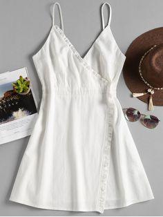 8c245880645 Ruffles Overlap Cami Dress - WHITE M Trendy Fashion