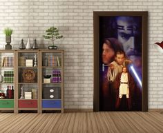 Star Wars Obi One Kenobi Mural By WallandMore. Can be applied both on the wall and door. Star Wars Wallpaper, Wallpaper Murals, Obi One, Most Popular Movies, Kids Wall Murals, Item Number, Kids Bedroom, Stars, Home Decor