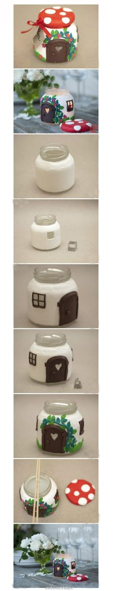 Combining polymer clay architecture with glass bottles. Perfect for personalized candles.