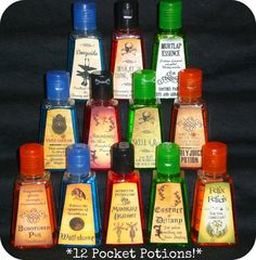 Twelve different Harry Potter Inspired anti-bacterial hand sanitizers in mini potions bottles. Party favors!