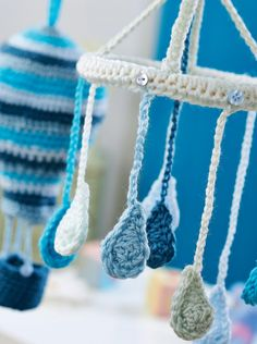 Raindrops and hot air balloons crochet baby mobiles