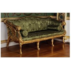 Settee by Stuart, James 'Athenian', (made). Settee in carved and gilded limewood, featuring carved winged lions on each side, upholstered with modern green silk damask. Italian Furniture, French Furniture, Classic Furniture, Sofa Furniture, Furniture Making, Antique Furniture, Furniture Design, Luxury Furniture, Furniture Ideas
