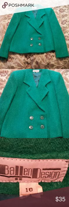 Green Blazer by Ballen Design. Size 10. Green fuzzy blazer by Ballen Design. In excellent used condition. No stains or flaws. Dry cleaned only. Size 10. Ballen Design  Jackets & Coats Blazers