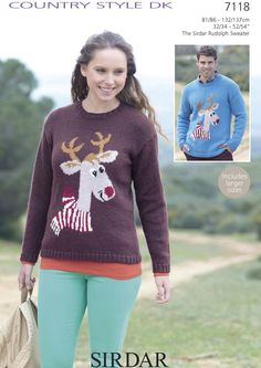 The Sirdar Rudolph Sweater in Sirdar Country Style DK (7118) | Christmas Patterns | Knitting Patterns | Deramores