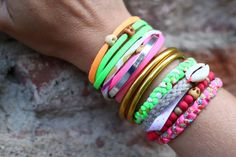 armswag, neon, fluo, bracelet, coquillage, skull