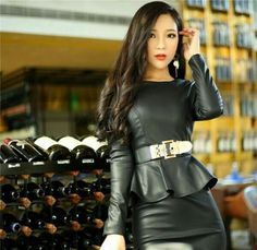 Asian girl in belted black leather peplum top and leather skirt Leather Peplum Tops, Black Leather Skirts, Leather Dresses, Sexy Outfits, Rock Outfits, Fashion Outfits, Womens Fashion, Asian Woman, Asian Girl