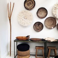 """""""Just a snippet of the incredible decorative pieces going out to clients and press this week. You can always count on LuMu for eclectic and breathtaking…"""" African Interior, African Home Decor, Juju Hat, Room Decor, Wall Decor, Boho Stil, Baskets On Wall, Living Room Inspiration, Sweet Home"""