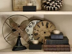 Summer Event --Open July 25th, 26th and 27th 3 days only! Thurs Fri and Sat from 10am - 4 pm Antique Fans, Vintage Fans, Antique Decor, Vintage Decor, Vintage Shelf, Antique Books, Country Decor, Farmhouse Decor, Shabby