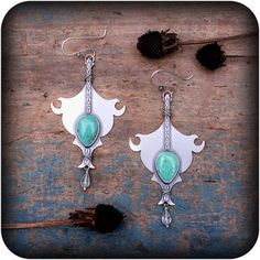 Fire Balm Earrings Sterling Silver and Turquoise by RosyRevolver