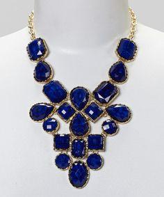 Love this Gold & Blue Gem Bib Necklace on #zulily! #zulilyfinds