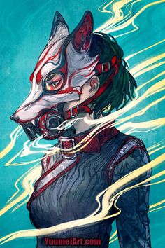 Kitsune gas mask~ It was really fun designing the oni gas mask last time that I got inspired to make more :D What other gas mask ideas would you like to see from me? HD file and art video of this. Fantasy Character Design, Character Design Inspiration, Character Art, Mascara Anime, Yuumei Art, Arte Cyberpunk, Japon Illustration, Medical Illustration, Masks Art