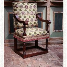 Elizabethan Arm Chair upholstered in Rose & Pansy. Designed and hand-made to order by Stuart Interiors Renaissance Era, Upholstered Chairs, Pansies, Solid Oak, All Design, Accent Chairs, Armchair, Oak Chairs, Rose