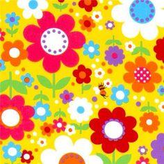 süsser bunte Blumen Stoff  von Cosmo  Import aus Japan    gelber Stoff mit vielen bunten Blumen und Bienchen  qualitativ sehr hochwertiger Stoff, t...