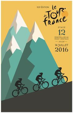 2016 Tour de France poster by Hayley Kirkman: Cycling Graphics Poster Bike, Bike Speed, Bike Illustration, Posters Vintage, Plakat Design, Tour Posters, Bicycle Art, Design Poster, Cycling Art