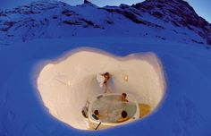 ice hotel in Tschamut, Switzerland