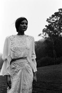 Blurry Memories – Ford SF's newest addition Ana takes a solitary walk in these ethereal black and white portraits photographed by Brittany Markert. Amidst the wondrous outdoors, the brunette beauty wears lightweight ivory pieces courtesy of stylist Ashley Abtahie / Make-up by Joshua Conover