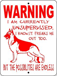 GERMAN SHEPHERD DOG SIGN WUS1RED