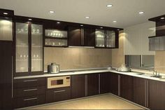 Small modular kitchen images with light pendants for kitchen island with modern kitchen cabinet design u shape Modern Kitchen Cabinets, Kitchen Cabinet Design, Modern Kitchen Design, Interior Design Kitchen, Kitchen Island, Kitchen Pantry, Pantry Design, Kitchen Small, Kitchen Flooring