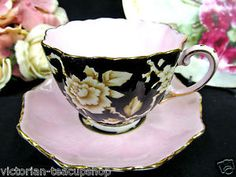 PARAGON TEA CUP AND SAUCER PINK & BLACK CHINTZ FLORAL PATTERN TEACUP