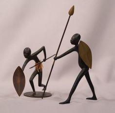 2-Hagenauer-Austrian-Art-Deco-Vienna-Bronze-African-Warriors-Man-Woman