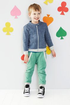 aw15: Baobab's organic cotton knits and cotton wovens reflect a playful, modern aesthetic. The prints are understated, like the Zippy one-piece that employs the Little People silhouette pattern to describe happy family life. Even Snug Tracks sweats have an eye for timely color combinations, and shapes that take the pieces out of the gym and into a boy's busy day. Find the collection at the Allison Showroom in Los Angeles.  www.allisonshowroom.com, www.baobab.com.au (editor's pick)