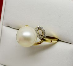 NEW  10mm PEARL & .10 ct DIAMOND RING 14K SOLID GOLD #iwi #Solitaire
