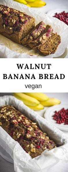 Walnut banana bread recipe. Easy vegan, plant-based dessert. #bananabread #bread #banana #vegan #recipe #walnut #plantbased #dessert #sweet #food #christmas #lingonberry #cardamom Loaf Tin Recipes, Savory Bread Recipe, Vegan Bread, Banana Bread Recipes, Vegan Food, Vegan Dessert Recipes, Vegan Breakfast Recipes, Delicious Vegan Recipes, Yummy Food