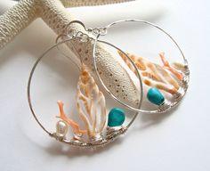 Items similar to Shell Hoop Earrings, Large Beach Hoops, Boho Beach Earrings, Pe. - List of the most beautiful jewelry Sea Jewelry, Mermaid Jewelry, Seashell Jewelry, Jewelry Gifts, Beaded Jewelry, Jewelery, Jewelry Accessories, Jewelry Design, Summer Accessories