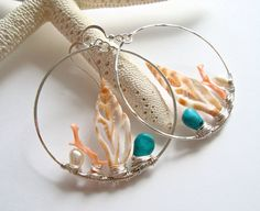 Shell Earrings, Large Beach Hoops with coral turquoise
